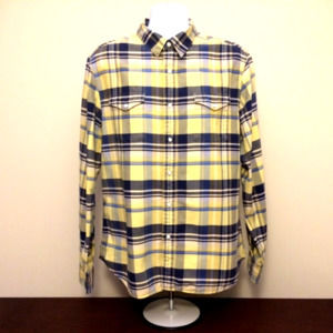 Levi's blue yellow plaid pearl snap western shirt